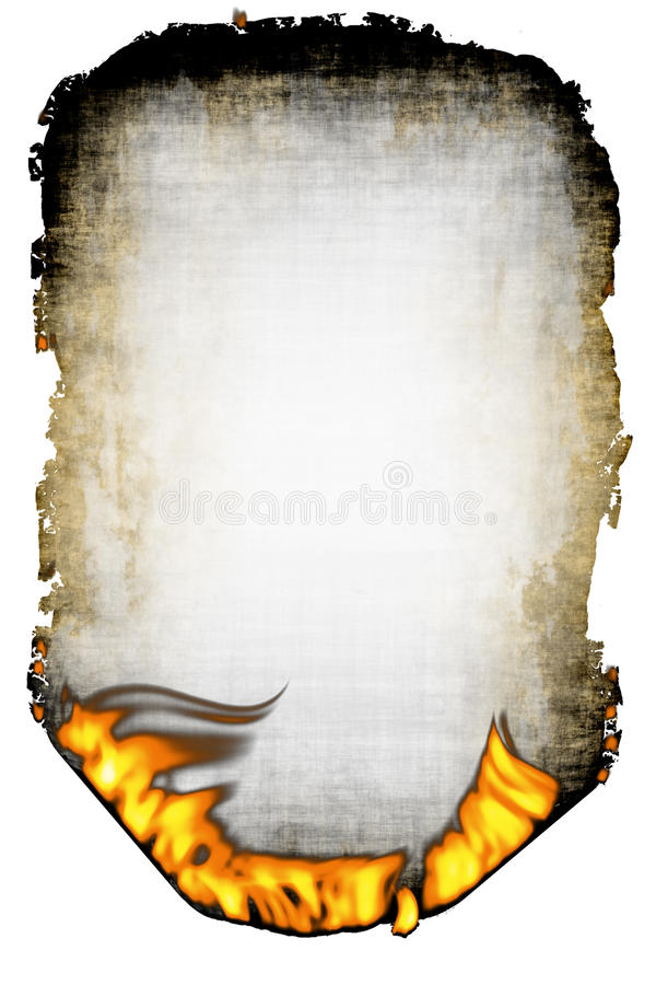 Sheet of the scorched paper and fire