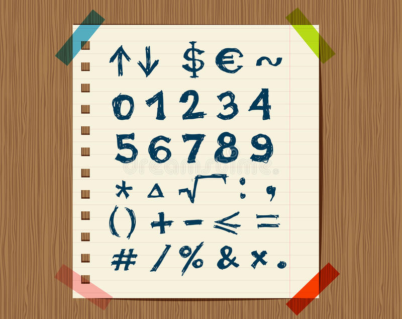 Download Sheet With Sketch Of Math Symbols For Your Design Stock Vector - Illustration of counting, notepad: 22098442