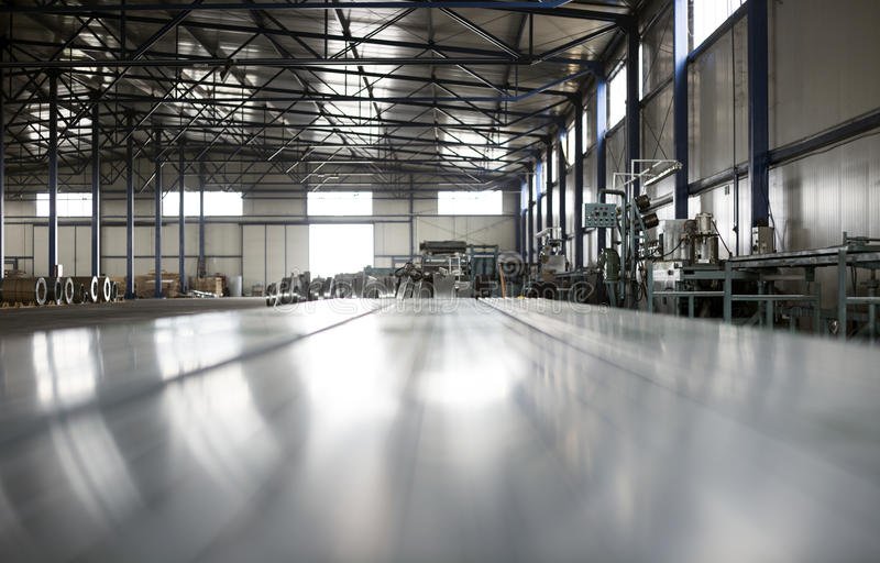 Sheet tin metal production hall. Abstract background stock photo