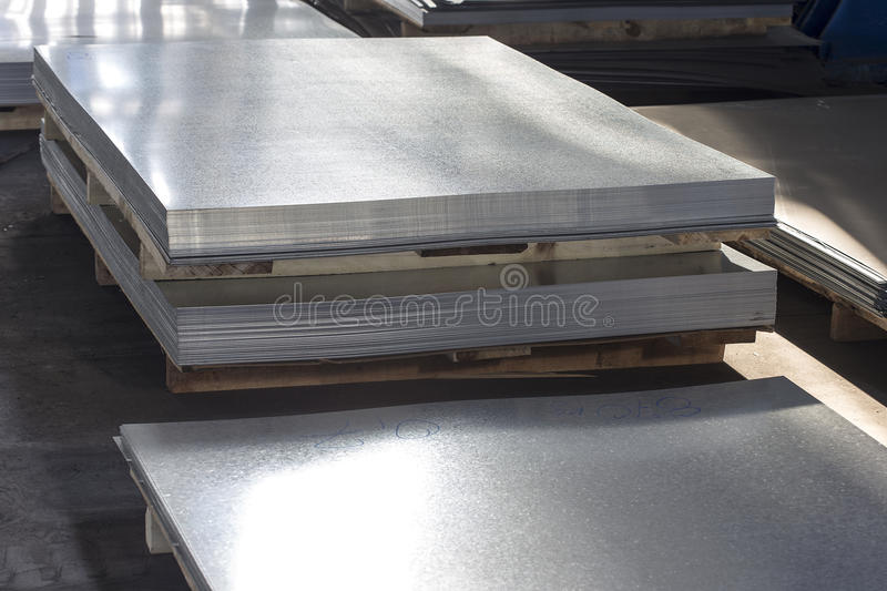 Sheet tin metal in production hall. Ready for shipping stock photo