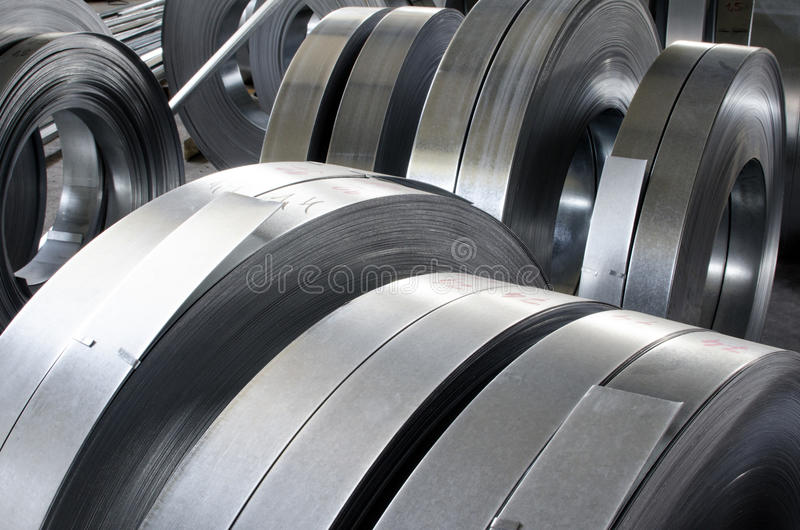 Sheet tin metal rolls. Abstract industry background royalty free stock images