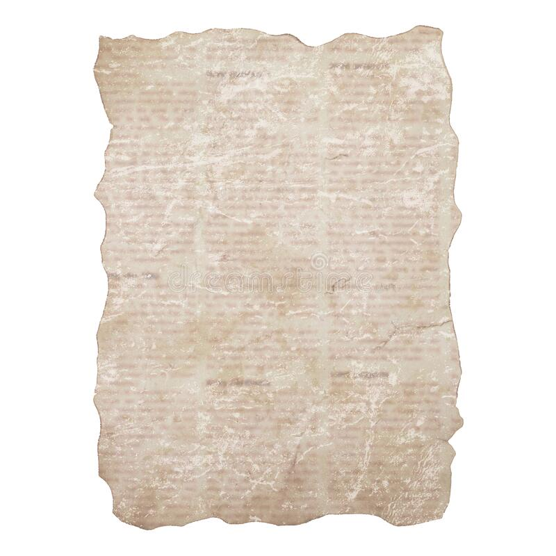 Sheet of torn newspaper isolated on white background. Old grunge newspapers textured paper stock photo