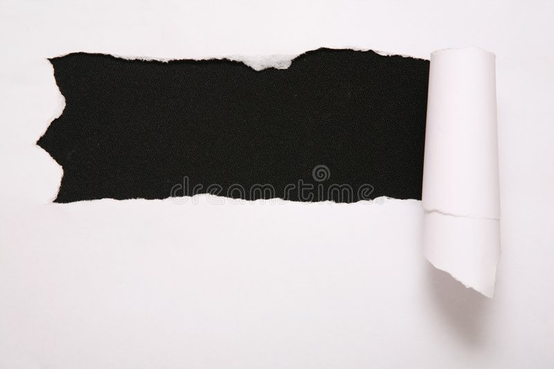 Sheet of torn paper against the black background 2 stock photos