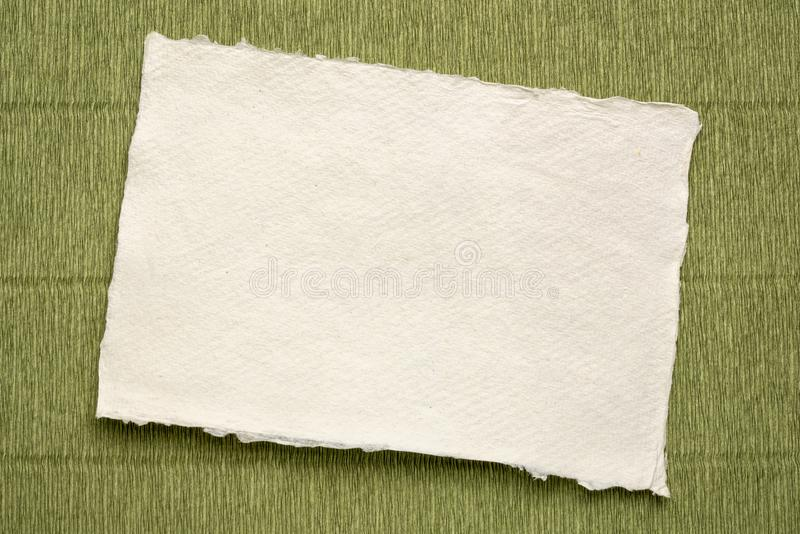 Sheet of white Khadi rag paper stock image