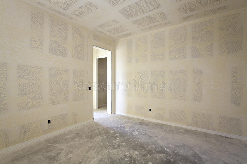 Sheetrock of a New Interior Room stock image