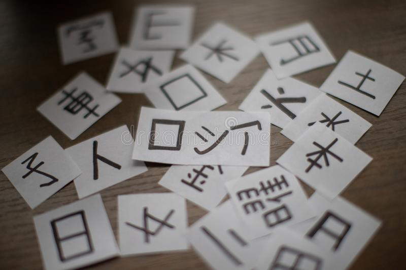 Sheets with a lot of chinese and japanese language characters kanji with main word Russia translation - man, like, eye and othe stock images