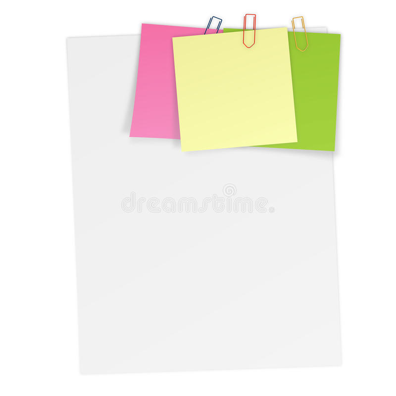Sheets of paper with attached Notes. Sheets of paper with attached colored notes stock illustration