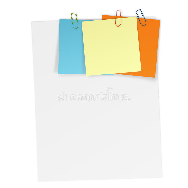 Sheets of paper with attached Notes. Sheet of paper with attached colored notes vector illustration