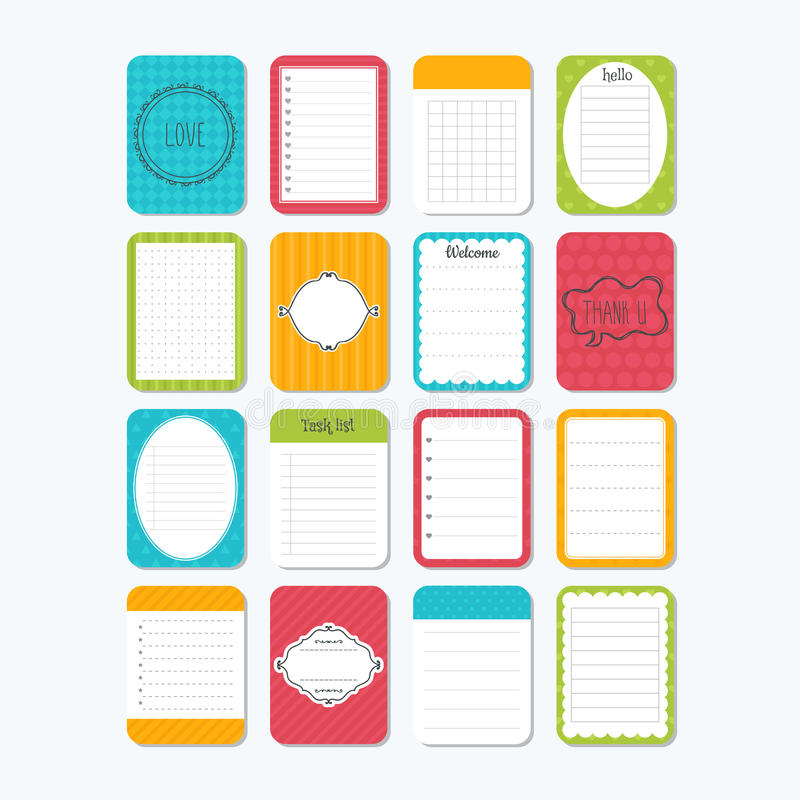 Sheets of paper. Collection of various note papers. Template notepad. Cute design elements vector illustration