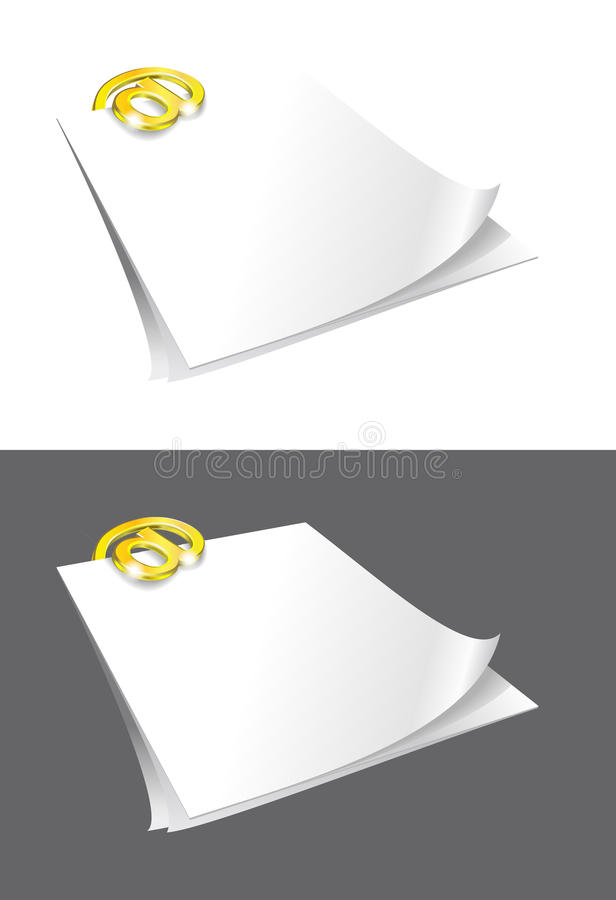 Sheets of paper and gold binder. Sheets of paper and gold binder are on white gray backgrounds royalty free illustration