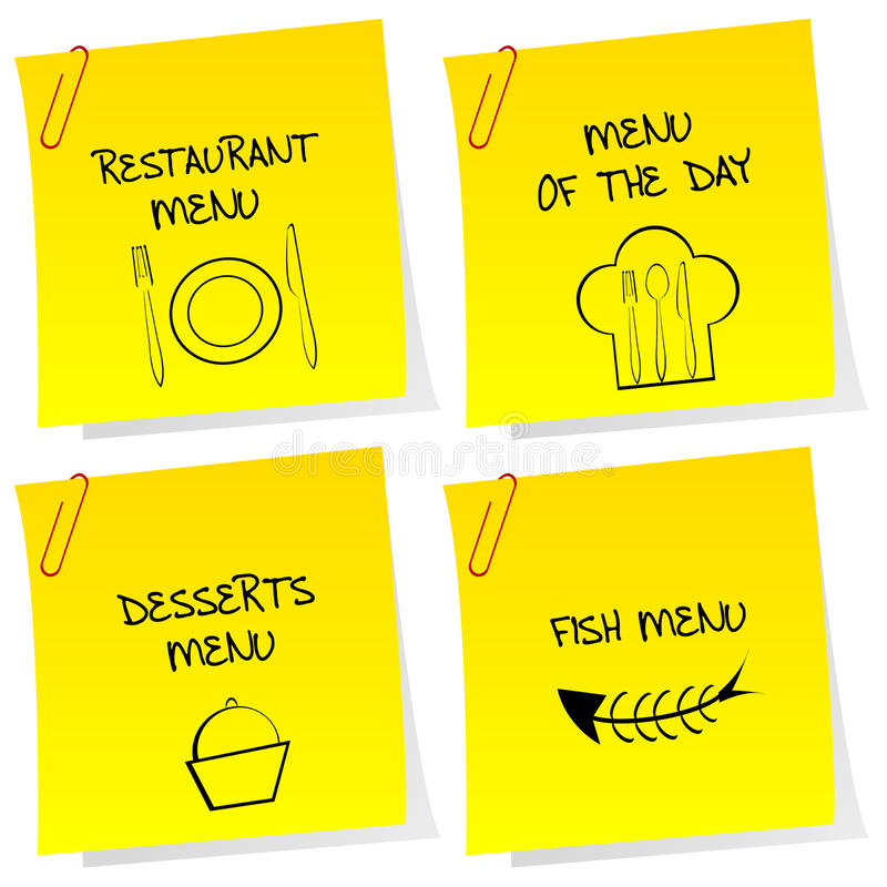 Sheets of paper with restaurant messages vector illustration