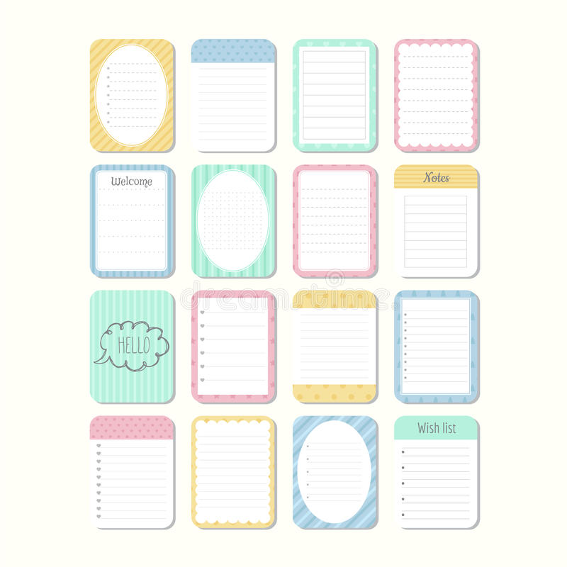 Sheets of paper. Template notepad. Collection of various note papers. royalty free illustration