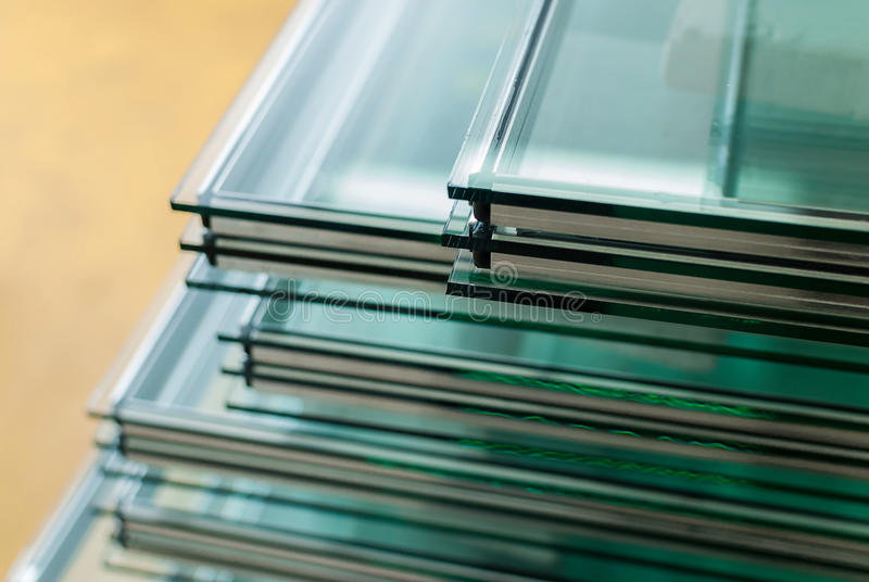 Sheets of Tempered Window Glass royalty free stock photography