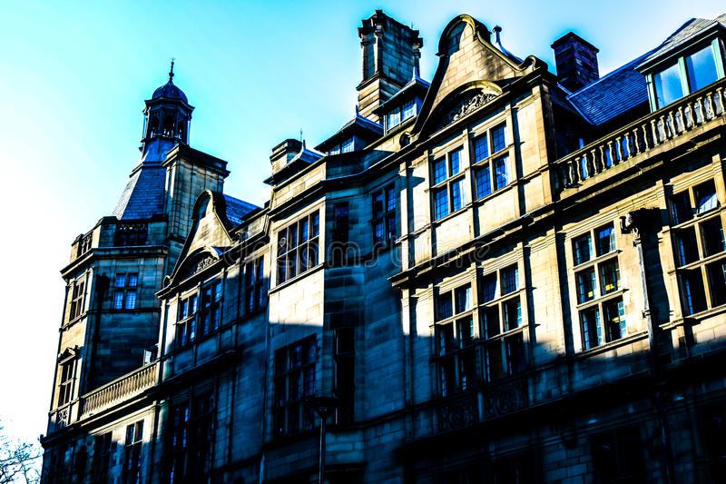 Sheffield City Hall. Dramatic shot of the City Hall of Sheffield captured in the rising morning sun royalty free stock photo