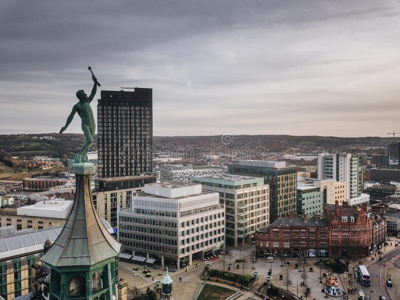 Sheffield City. City of Sheffield, United Kingdom from royalty free stock image