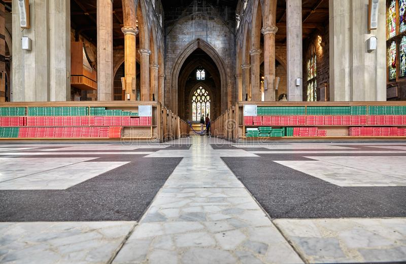 The interior of the Sheffield Cathedral's nave. Sheffield. England royalty free stock image