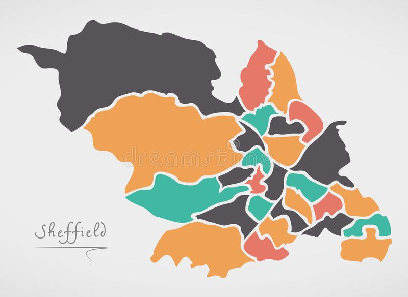 Sheffield Map with wards and modern round shapes. Illustration stock illustration