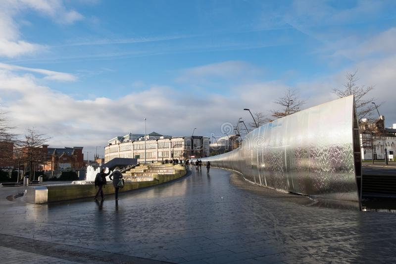 Sheffield Sheaf Square, a public space with large fountain near the railway station. Sheaf Square, Sheffield, with large modern fountain. The public space is in royalty free stock images