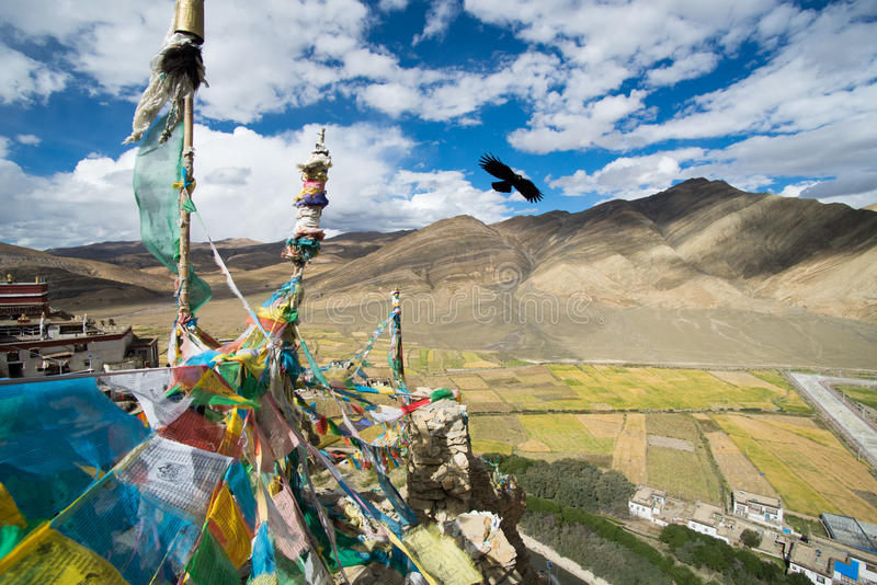 Shegar Dzong (monasterio de Chode) en Tingri en Tíbet fotografía de archivo libre de regalías