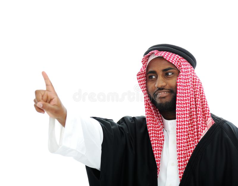 Sheikh árabe que pressiona a tecla abstrata - foto de stock royalty free