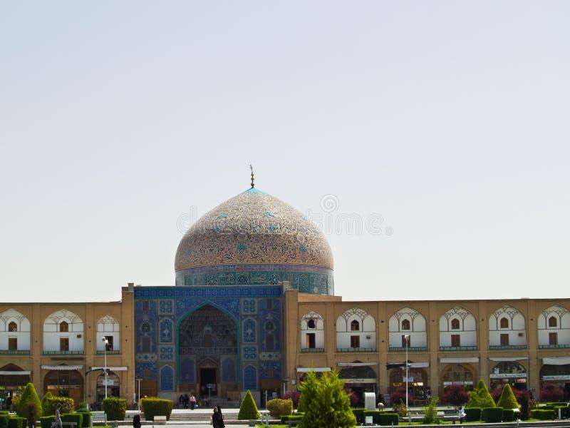 Sheikh Lotf Allah Mosque på den Naqsh-e Jahan fyrkanten i Isfahan, Ira arkivbilder