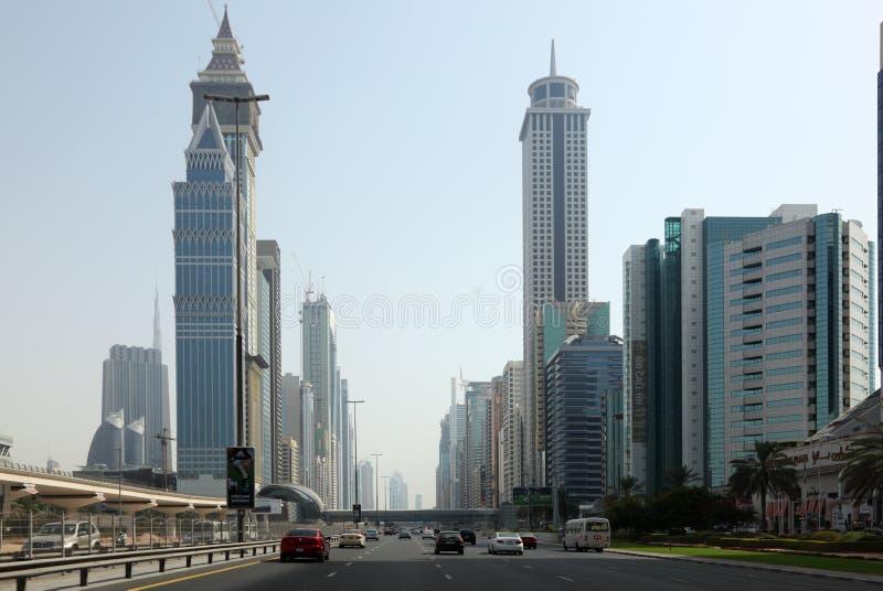 Sheikh Zayed Estrada em Dubai fotos de stock
