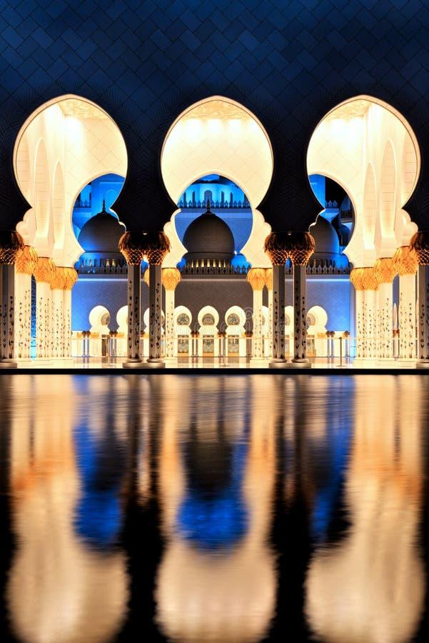 Sheikh Zayed Grand Mosque in Abu Dhabi at Dusk. UAE royalty free stock image