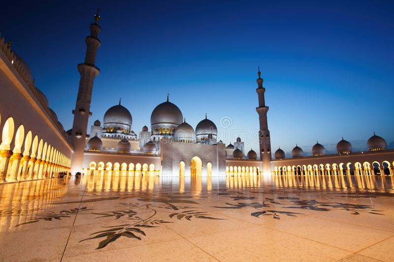 Sheikh Zayed Grand Mosque in Abu Dhabi at Dusk. Sheikh Zayed Grand Mosque in Abu Dhabi, UAE stock image