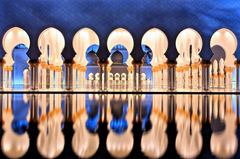 Sheikh Zayed Grand Mosque in Abu Dhabi at Dusk stock photo