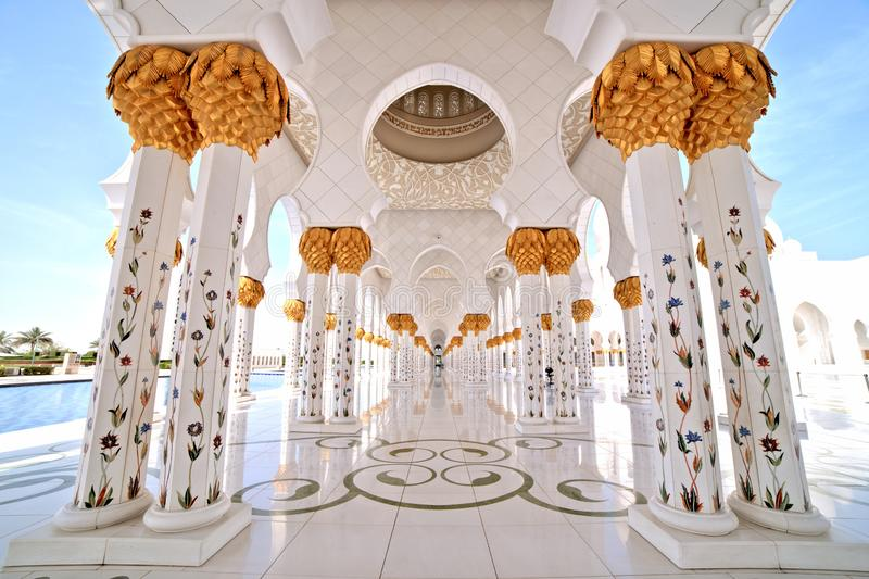 Sheikh Zayed Grand Mosque in Abu Dhabi Interior. UAE royalty free stock images