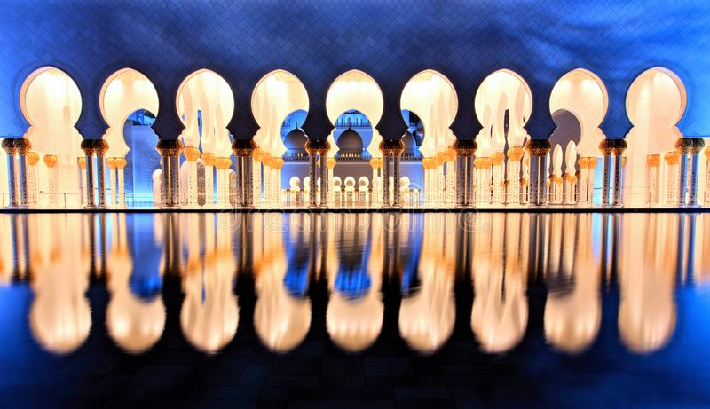 Sheikh Zayed Grand Mosque in Abu Dhabi at Dusk. Sheikh Zayed Grand Mosque in Abu Dhabi, UAE stock photography