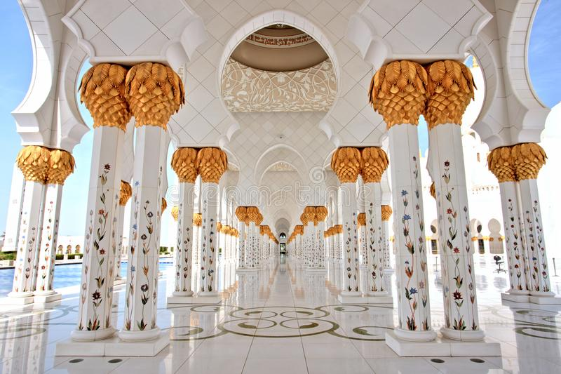 Sheikh Zayed Grand Mosque in Abu Dhabi Interior. Sheikh Zayed Grand Mosque in Abu Dhabi, UAE royalty free stock photography
