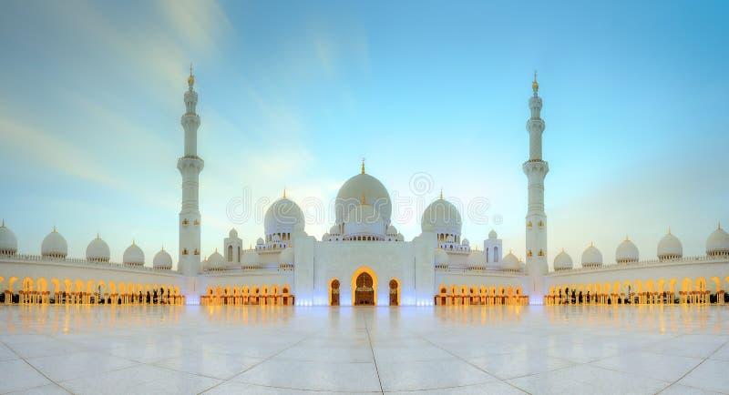 Sheikh Zayed Grand Mosque. At dusk, Abu-Dhabi, UAE royalty free stock photo