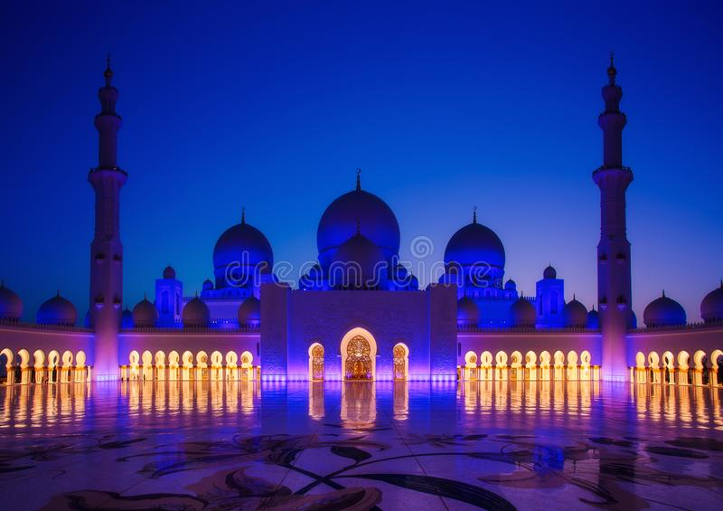 Sheikh Zayed Grand Mosque en Abu Dhabi image libre de droits