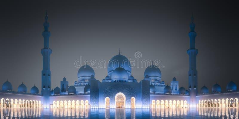 Sheikh Zayed Grand Mosque en la noche Abu Dhabi, UAE imagen de archivo