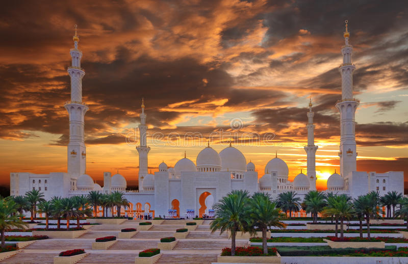 Sheikh Zayed Mosque in Abu Dhabi, de V stock afbeelding