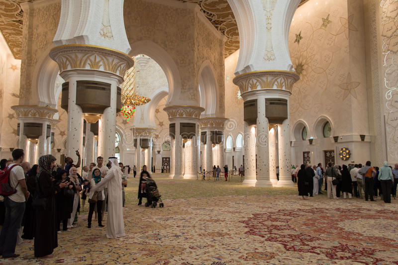 Sheikh zayed mosque in Abu Dhabi, UAE - Interior stock images