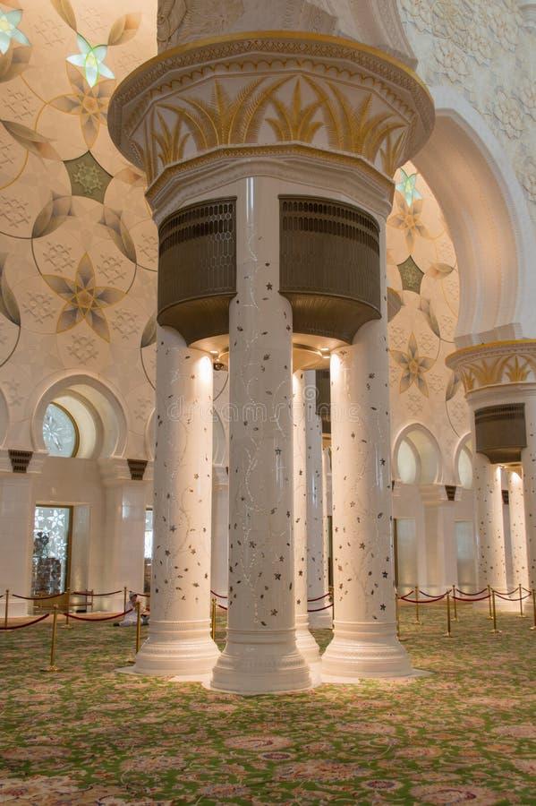 Sheikh zayed mosque in Abu Dhabi, UAE - Interior royalty free stock photos