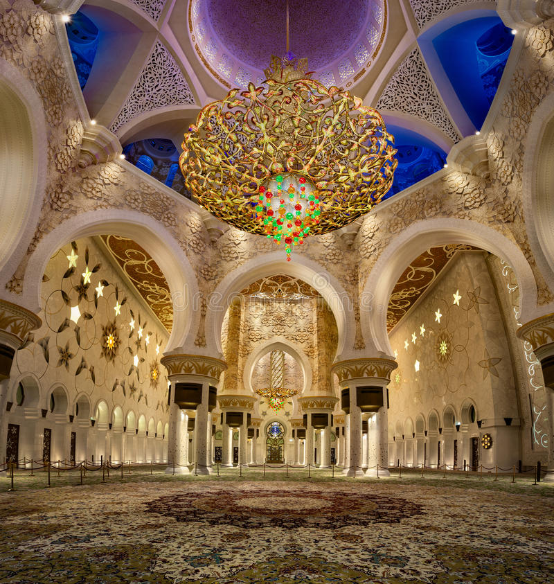 Sheikh Zayed Mosque interior with second largest chandelier in the world royalty free stock photos