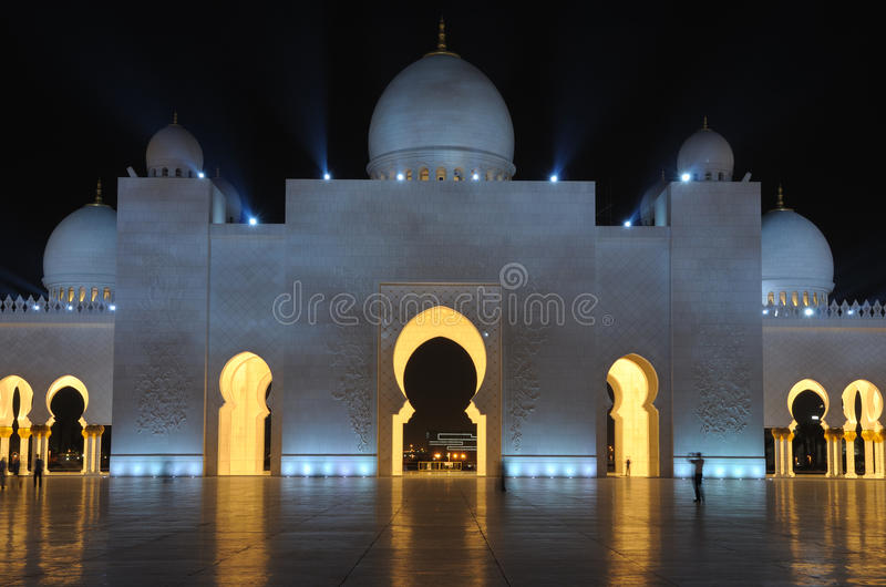 Sheikh Zayed Mosque at night, Abu Dhabi stock photos