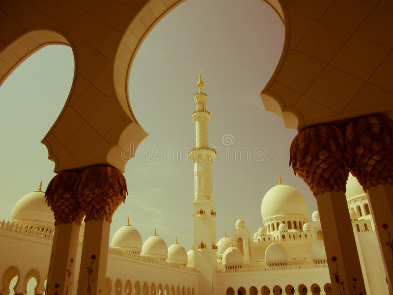 Sheikh Zayed Mosque Retro foto de stock royalty free