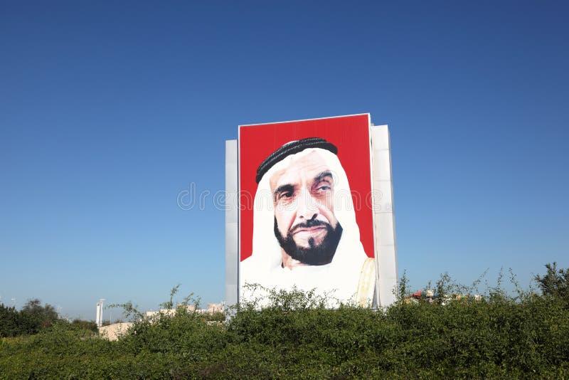 Sheikh Zayed Portrait in Abu Dhabi stock image
