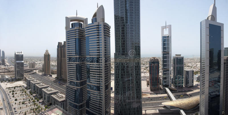 Sheikh Zayed Road Aerial View. The uptown area of Dubai, in Sheikh Zayed road, a bird's eye view of the city near finacial center metro station royalty free stock image