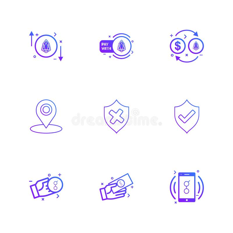 Sheild , navigation , golem , mobile, money , coin , eps icons. Sheild , navigation , golem , mobile, money , coin ,icon, vector, design, flat, collection, style stock illustration