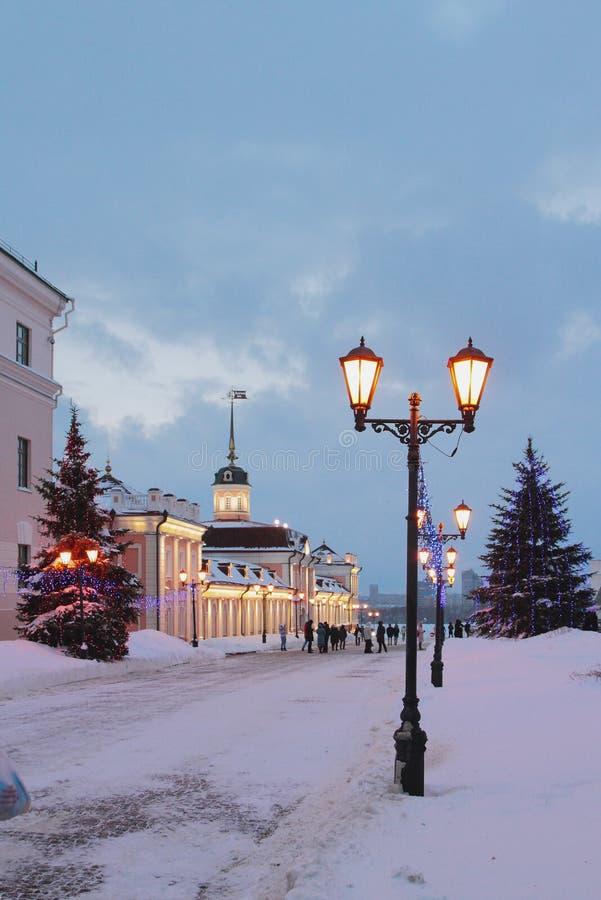 Sheinkman ulica w zima wieczór kazan Russia zdjęcie royalty free