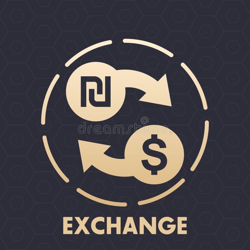 Shekel à l'icône de vecteur de change du dollar illustration de vecteur