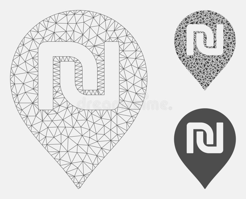 Shekel Map Marker Vector Mesh Wire Frame Model and Triangle Mosaic Icon. Mesh shekel map marker model with triangle mosaic icon. Wire frame triangular network of royalty free illustration