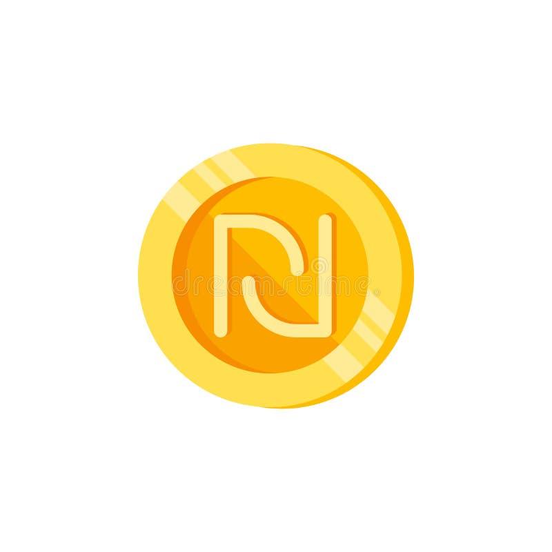 Shekel, pièce de monnaie, icône de couleur d'argent Élément des signes de finances de couleur Icône de la meilleure qualité de co illustration libre de droits