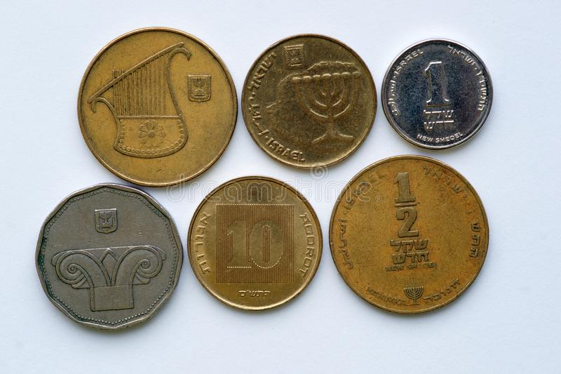 Shekels - coins of Israel royalty free stock photos
