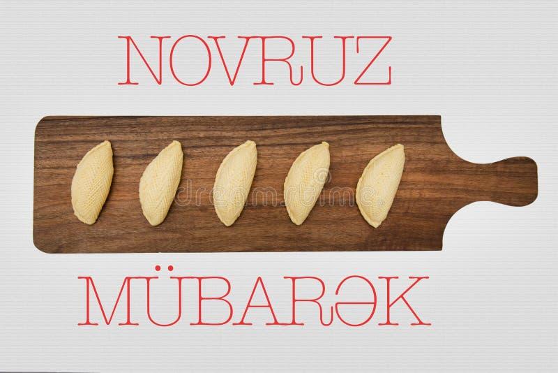 Shekerbura national Azerbaijani cookie as traditional Novruz holiday attribute stock photography